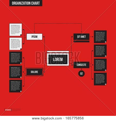 Organization Chart Template With Geometric Elements On Bright Red Background. Useful For Science And