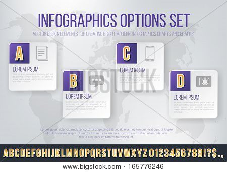 Bright Infographics Vector Violet Colored Numbers Set for Options and Features List. Template for brochure, business charts, web design and posters