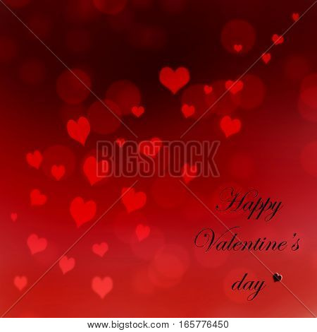 red heart on bokeh background with text happy Valentine's day