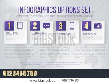 Business Violet Colored Bright Infographics Vector Numbers Set for Options. Template for brochure, business charts, web design and posters