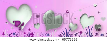 grey hearts in herbs on pink background