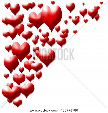 little red hearts isolated on white background