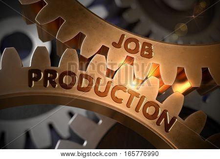 Job Production on Golden Cog Gears. Job Production on the Mechanism of Golden Metallic Gears with Glow Effect. 3D Rendering.