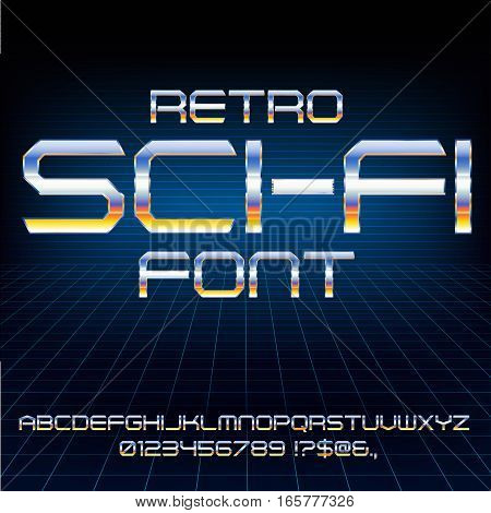 Retro Future Military Cyber Sci-Fi Movies Style Chrome Typeface in 80s Retro Futurism style. Vector font