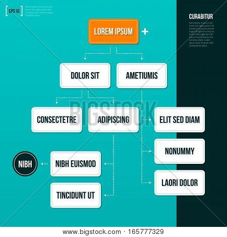 Organization Chart Template On Turquoise Background. Useful For Presentations And Advertising.