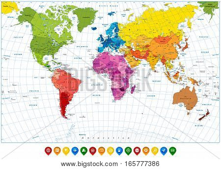 Detailed World Map spot colors and colorful map pointers. Highly detailed spot colored illustration of World Map: land contours countries and land names city names and water object names.