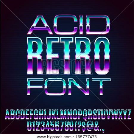 Acid 80's and 90's retro style vector font with chrome effect on letters