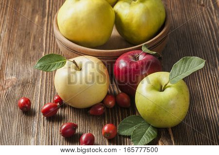 apples on a wooden vintage table (fruits)