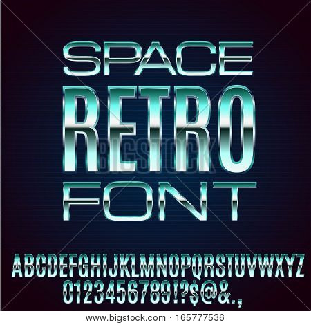 Retro Future Space Old VHS Age Blue Sci-Fi Movies Style Chrome Typeface in 80s Retro Futurism style. Vector font