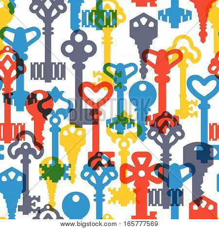 Colorful keys simple seamless pattern. Light padlock classic textile background. Vintage flat style shape door element graphic silhouette wallpaper.