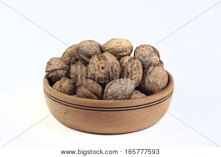 nuts  in bowl isolated on a white backgraund