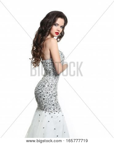 Brunette Bride In Wedding Dress. Elegant Lady With Makeup And Long Wavy Hairstyle. Beautiful Girl Mo