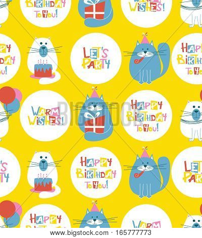 Vector seamless pattern with cute holidays cats and Happy Birthday lettering. B-day background with pets cakes balloons and greetings.