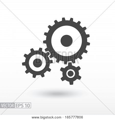Gear flat Icon. Sign gears. Vector logo for web design, mobile and infographics. Vector illustration eps10. Isolated on white background.