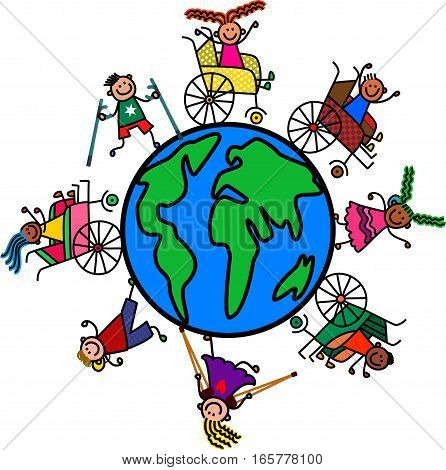 A group of happy and diverse disabled boys and girls standing around a world globe.