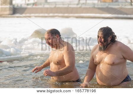 Gomel, Belarus - January 19, 2017: Bathing In The Hole Orthodox People On Holiday Baptism Of Christ.
