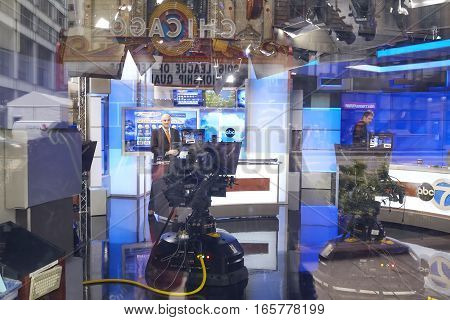 Chicago, Usa - October 15, 2016: Abc 7 Live Show In Studio Seen Through Window, The Station Is The M