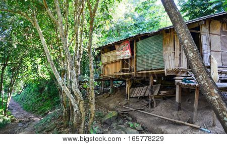 Run Down Shack In Poor Kayan Village, Thailand
