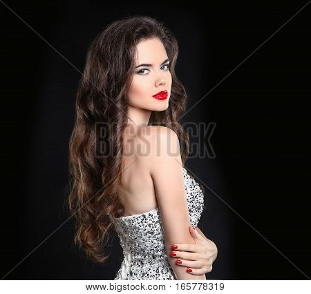 Beauty Model. Beautiful Sexy Brunette With Red Lips, Long Healthy Curly Hair And Manicured Nails. Gl