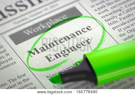 Maintenance Engineer - Small Ads of Job Search in Newspaper, Circled with a Green Marker. Blurred Image with Selective focus. Concept of Recruitment. 3D.