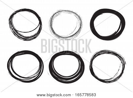 Set of hand drawn scribble circles. Scribble stains for your design. Vector illustration. Isolated on white background