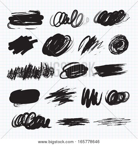 Vector set of dark blots on the white background. Scribble stains. Charcoal chalk texture. On a sheet of exercise book. Vector illustration