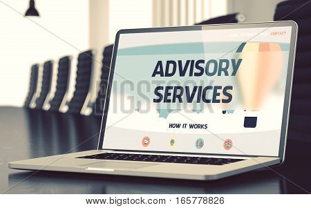 Laptop Display with Advisory Services Concept on Landing Page. Closeup View. Modern Meeting Room Background. Blurred. Toned Image. 3D Illustration.