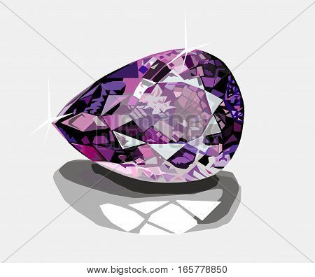 Brilliant diamond  with shadow on glass white background