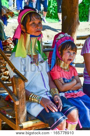 Long-necked Kayan Mother And Daughter In Thailand
