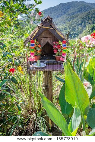 Rural Thai Wooden Spirit House