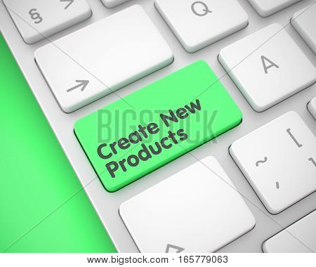Service Concept: Create New Products on the Modern Laptop Keyboard lying on Green Background. Create New Products Written on Green Keypad of Modern Keyboard. 3D.