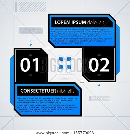 Modern Web Design Template With Options/banners. Futuristic Techno Business Style. Useful For Annual