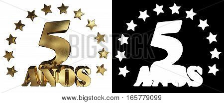 Golden digit five and the word of the year decorated with stars. Translated from the Spanish. 3D illustration