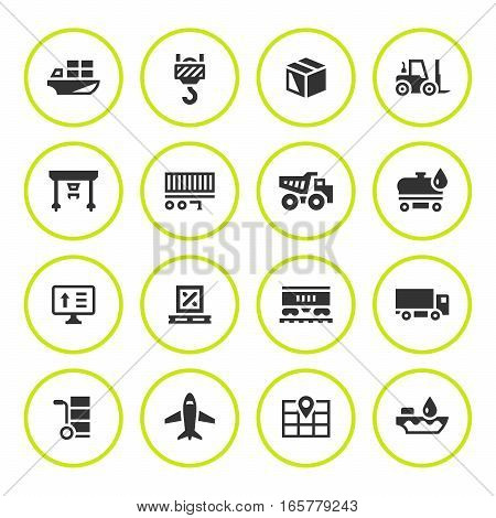 Set round icons of logistic isolated on white. Vector illustration