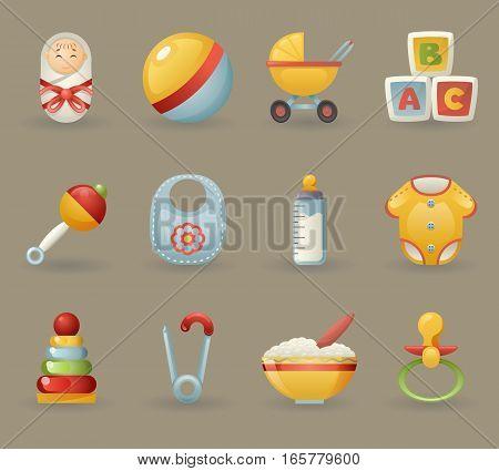 Childhood Baby Icons and Symbols Realistic Cartoon Set Vector illustration