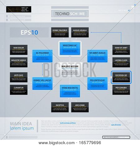 Modern Organization Chart Template With Rectangle Elements. Futuristic Techno Business Style. Useful