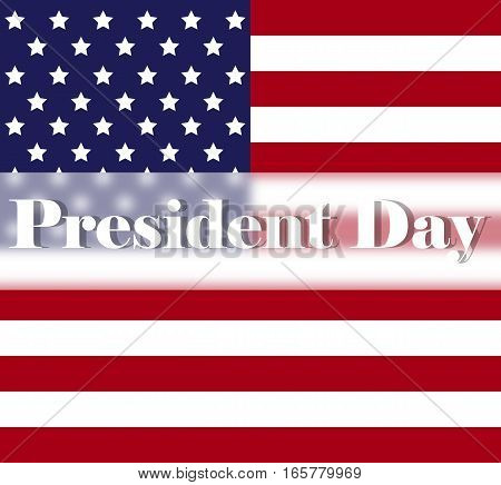 Bright Presidents Day background with american flag. Holiday poster or placard template in simple cartoon style. Vector illustration. Holiday Collection.