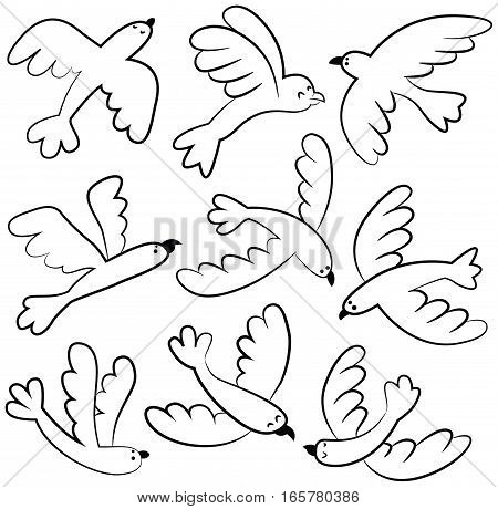 Collection of vector cute flying birds isolated on white. Cartoon set with doodle animals.