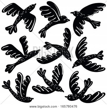 Vector collection of cute black birds vinil stickers. Cartoon silhouette animal icon set.