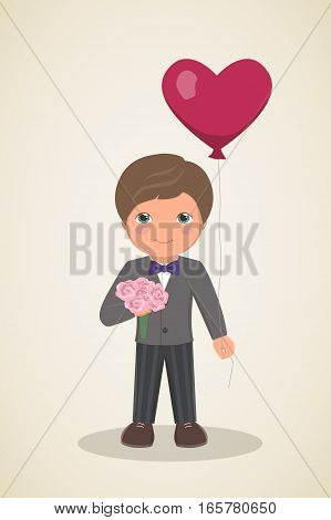 Romantic card for Valentines Day. Loving boy in suit with bow tie, smiling boy with bouquet of flowers in his hands and balloon heart on light background, vector illustration
