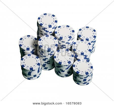 Poker chips isolated on white with clipping path
