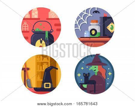 Halloween, witch and potion pixel perfect. Vector illustration icons size - 128px
