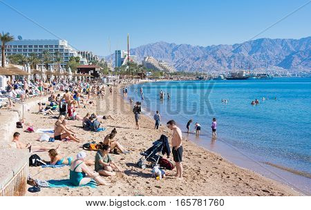 People Spending Christmas On The Beach At Eilat, Israel