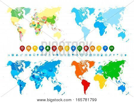 World maps collection and navigation icons in different colors and its different assignment. Blank Political World Map; blank World Map in different colors of blue; blank World Map with different colorful continents colors; blank World Map with continents