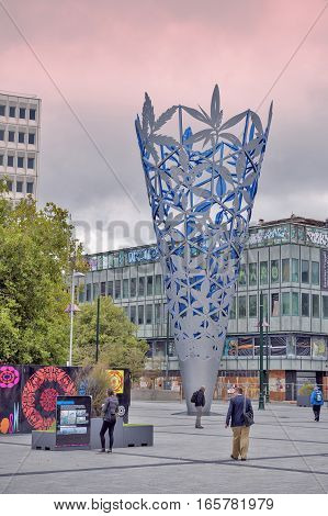 Christchurch New Zealand - February 14 2016: Sculpture of The Chalice located Christchurch's Cathedral Square New Zealand to celebrate the new millennium and the 150th Anniversary of the founding of Christchurch and Canterbury