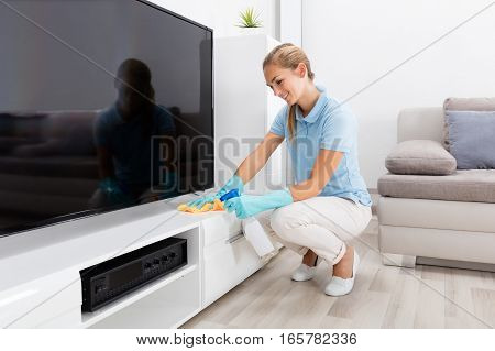 Young Happy Woman Cleaning The Furniture Of Living Room At Home