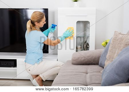 Young Woman Using Spray Bottle And Cloth To Clean The Furniture Of The House