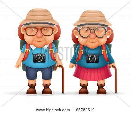 Old Backpacker Couple Photo Camera Travel Realistic Cartoon Character Design Isolated Vector Illustration
