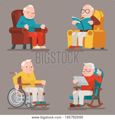 Grandfather Old Man Characters Sit Sleep Web Surfing Read Armchair Wheelchair Adult Icons Cartoon Design Vector Illustration