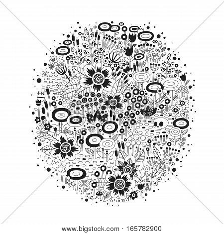 Illustration with beautiful flowers in oval shape on white background. There is a skull lying among them. Metaphor of life and death.